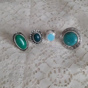 New Turquoise Ring Lot Bundle 4 Rings